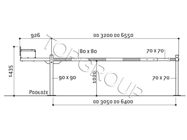szlaban aluminiowy podnoszony schemat