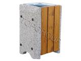 Kosz betonowo-drewniany kwadratowy 1-49 menu